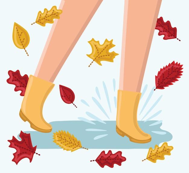 Lustige illustration von beinen, die in den regenpfützen in ruber stiefeln laufen