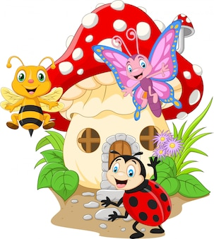 Lustige insekten der karikatur mit pilzhaus
