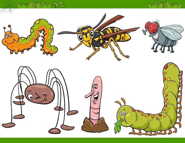 Lustige insektencharaktere stellen karikaturillustration ein