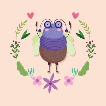 Lustige käfer-tierblumenblumenkranzdekorations-karikaturillustration