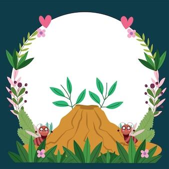 Lustige käferameisen mit ameisenhaufenblumenlaubkarikaturillustrationsfahnenschablonenentwurf