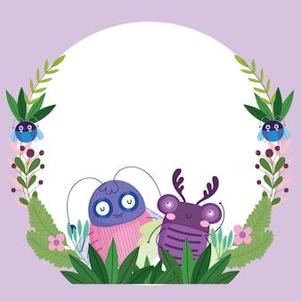 Lustige käferblumenflora-dekorationskarikaturillustrationsfahnenschablonenentwurf