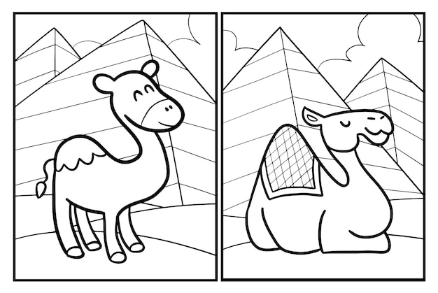 Lustige kamel-cartoon-malvorlagen