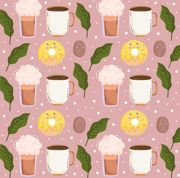Lustige karikatur des niedlichen kaffeetassenorangen-smoothie- und samenvektorillustration des lebensmittelmusters