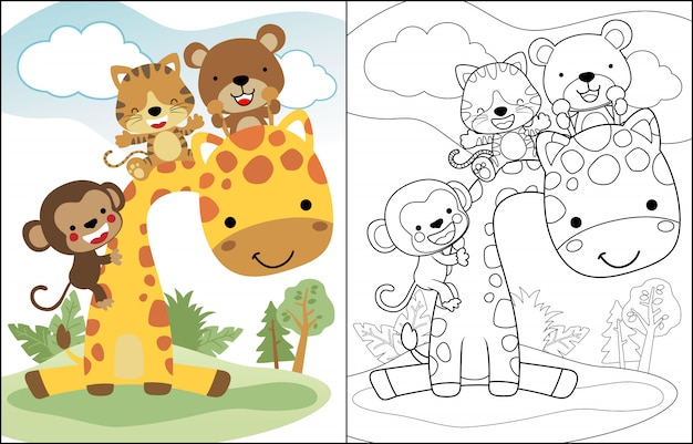Lustige karikatur mit giraffe und kleinen freunden