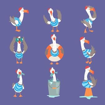 Lustige karikatur-möwe, die verschiedene aktionen und emotionen zeigt, niedliche comic-vogelfiguren
