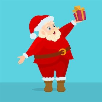 Lustige karikatur santa claus, die geschenk hält