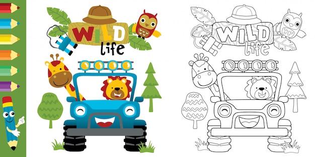Lustige karikatur von tieren auf auto