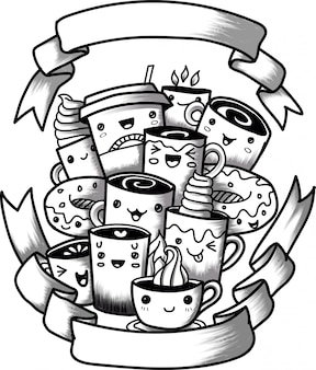 Lustige karikaturgekritzel-kaffeetasse