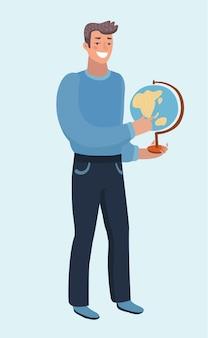Lustige karikaturillustration des mannes, der eine globuserde in seiner hand hält