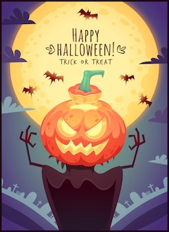 Lustige karikaturkürbis-vogelscheuche auf vollmondhimmelhintergrund happy halloween-poster süßes oder saures grußkartenillustration