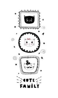 Lustige karte mit niedlichen katzengesichtern und schriftzug niedliche familie!