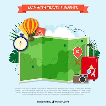 Lustige karten- und reiseelemente mit flachem design