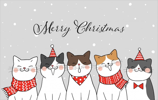 Lustige katze der fahne für weihnachtstag im schnee