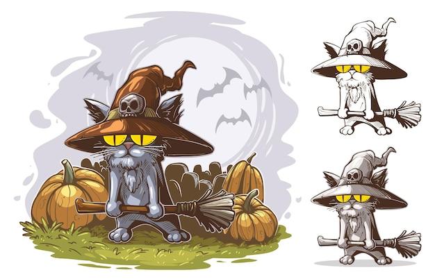 Lustige katze der karikatur mit großen gelben augen im hexenhut mit dem schädel, der besen hält halloween-vektorpostkarte mit mond, fledermaus, friedhof und kürbissen im hintergrund.