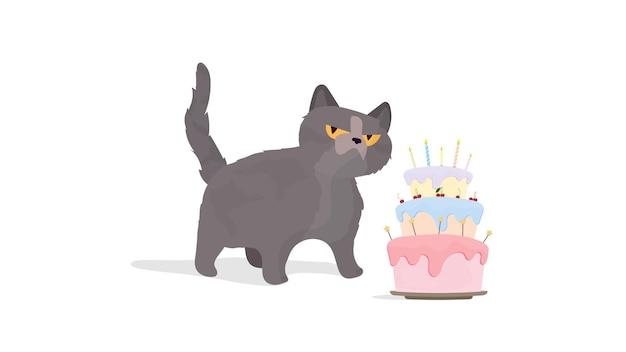 Lustige katze hält einen festlichen kleinen kuchen. süßigkeiten mit sahne, muffin, festliches dessert, süßwaren. gut für karten, t-shirts und aufkleber. flacher stil. vektor.