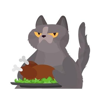Lustige katze hält einen gebratenen truthahn. eine katze mit einem lustigen blick hält ein gebratenes huhn.