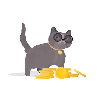 Lustige katze in gläsern mit einem berg von münzen. katzenaufkleber mit ernster optik. gut für aufkleber, t-shirts und postkarten. isoliert. vektor.