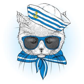 Lustige katze in gläsern und einem matrosenanzug