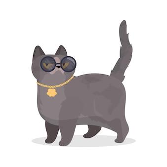 Lustige katze mit brille. katzenaufkleber mit einem ernsten blick. gut für aufkleber