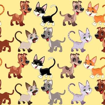 Lustige katzen und hunde mit hintergrund wiederholen die seiten nahtlos für eine mögliche verpackung oder grafik