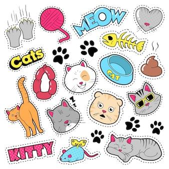 Lustige katzenabzeichen, aufnäher, aufkleber - katzenfischkupplungen im comic-stil. gekritzel