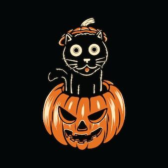 Lustige katzenliebe-halloween-frucht-kürbis-illustration