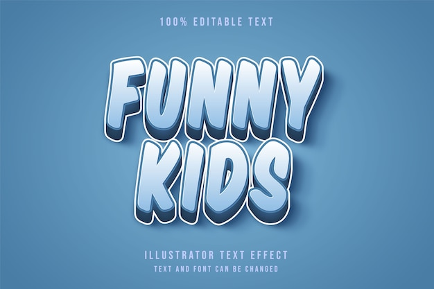 Lustige kinder, 3d bearbeitbarer texteffekt blaue abstufungstextstil