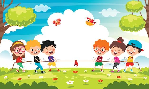 Lustige kinder, die seil ziehen spielen