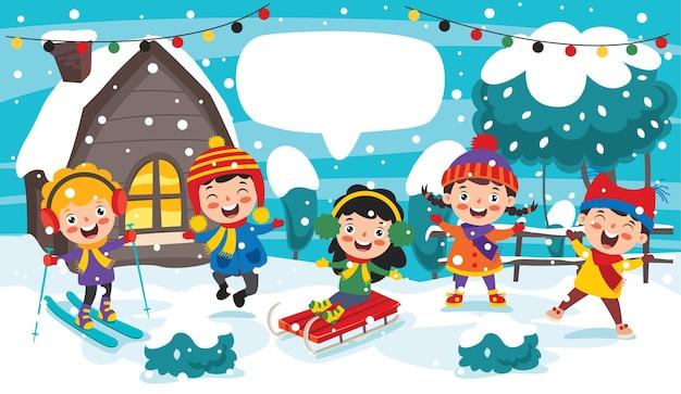 Lustige kinder, die spaß an der wintersaison haben