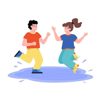 Lustige kinder springen in die pfütze. junge und ein mädchen in der sommerkleidung sprühen wasser. outdoor-aktivitäten, freizeit oder urlaub für kinder. flache karikatur isolierte illustration.