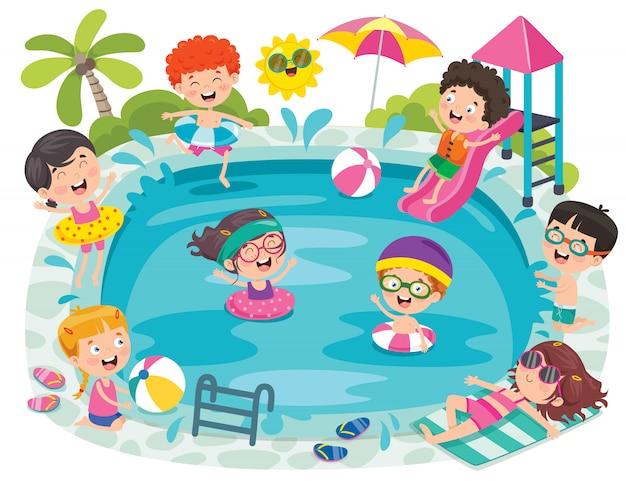 Lustige kinder und schwimmbad