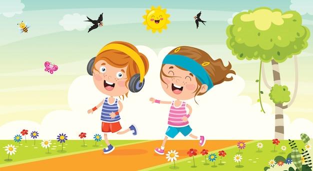 Lustige kleine kinder, die draußen laufen