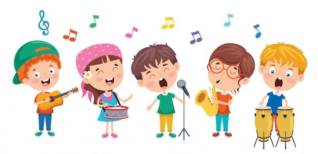 Lustige kleine kinder, die musik spielen