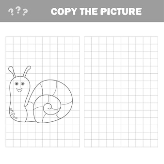 Lustige kleine schnecke. kopieren sie das bild. malbuch. lernspiel für kinder. cartoon-vektor-illustration