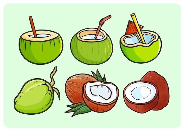 Lustige kokosnussfrüchte und -getränke im einfachen gekritzelstil