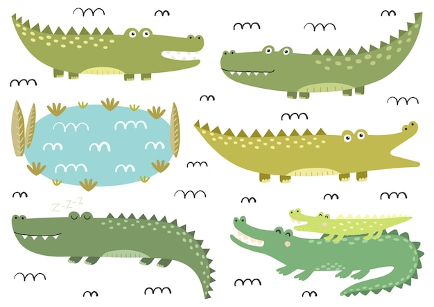 Lustige krokodilsammlung. niedliche alligatoren im kindlichen stil. safari-charaktere. sammlung isolierter elemente. vektorillustration