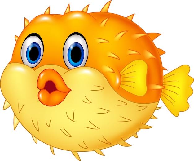 Lustige kugelfische der karikatur