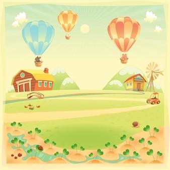 Lustige landschaft mit bauernhof und heißluft baloons vektor-cartoon-illustration