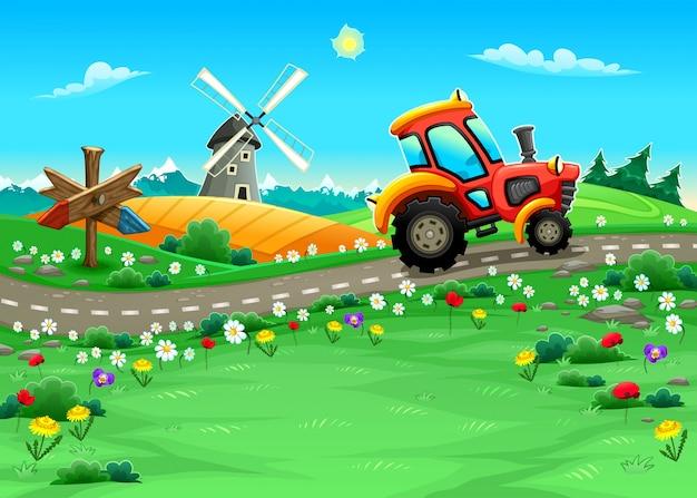 Lustige landschaft mit traktor auf der straße cartoon vektor-illustration