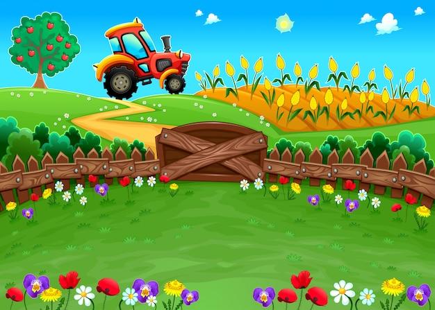 Lustige landschaft mit traktor und kornfeld cartoon vektor-illustration