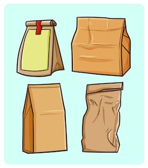 Lustige leere papiertaschensammlung im einfachen gekritzelstil