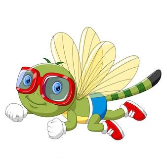 Lustige libelle der karikatur unter verwendung der schutzbrillen