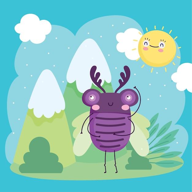 Lustige lila käfer-tierlandschaftsnaturkarikaturillustration