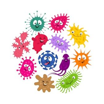 Lustige mikroben und virus scherzt vektorhintergrund