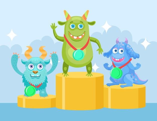 Lustige monster der karikatur bei der flachen illustration der meisterschaft. glückliche bunte kreaturencharaktere, die preisgekrönte plätze erhalten Premium Vektoren