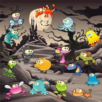 Lustige monster mit landschaft und schloss vector cartoon illustration