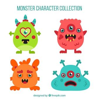 Lustige monster sammlung in flachen stil