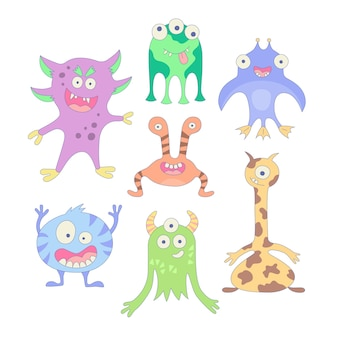 Lustige monster set von elementen im cartoon-stil vektor-illustration