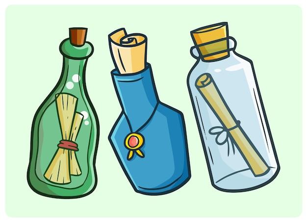Lustige nachricht in den flaschensammlungen im einfachen gekritzelstil
